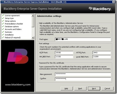 13 BES administrative settings screen