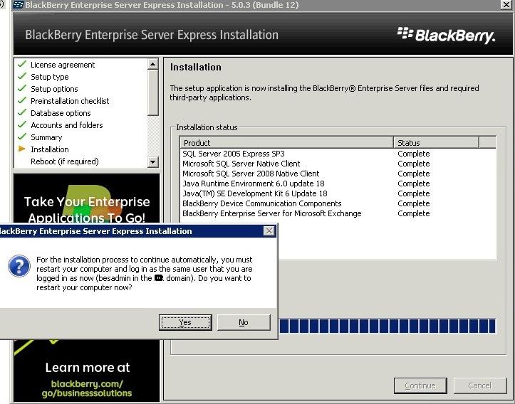 BES installation complete 10 BES post-installation restart screen